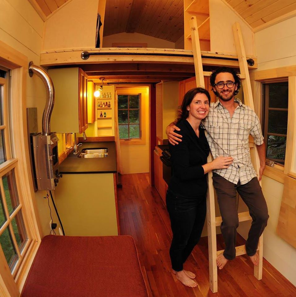 Ethan and Ann in their completed tiny house