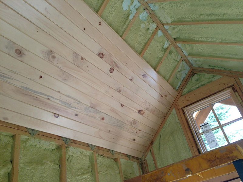 Laying the ceiling on the rafters