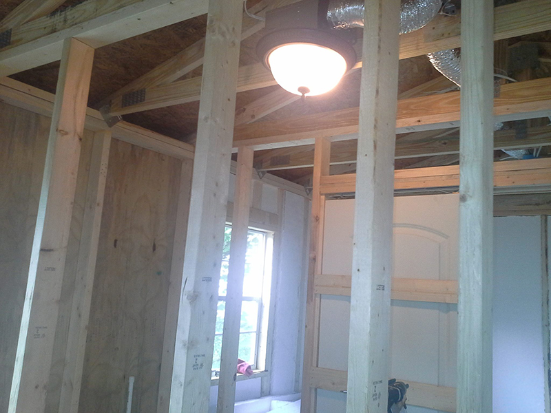 Shown are pieces of the vent hose, lighting, HVAC, and interior walls