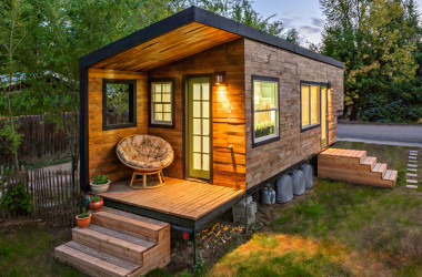 Rustic Exterior and Modern Interior in This Tiny House. Plus a Shower to Die For!