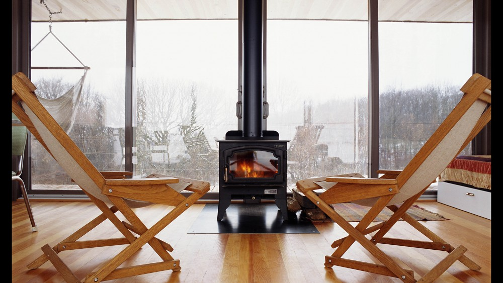 wood burning stove in the arado weehouse