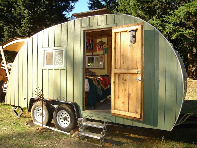 DIY camper with cedar siding