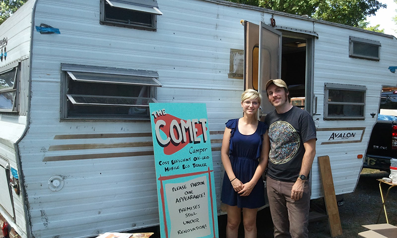 Mariah, her partner Matt, and the Comet Camper