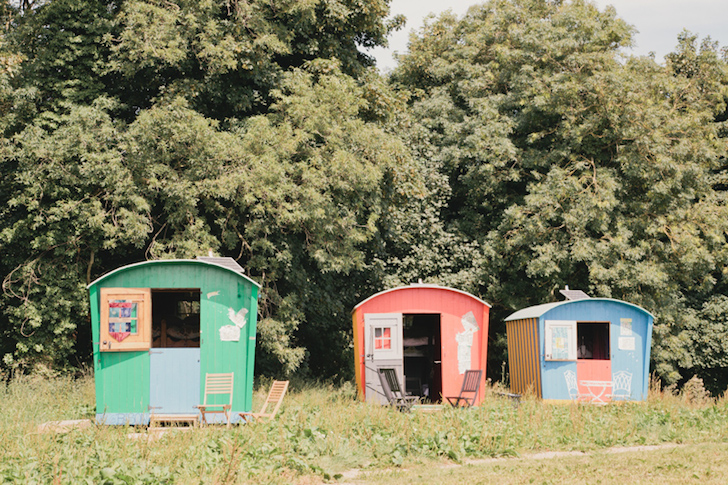 Outside the gypsy caravans at Baby Moon