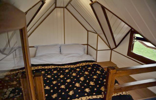 Upstairs loft in a Tinywood glamping house