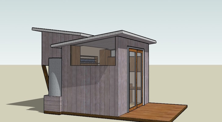 120 Sq Ft Tiny House Design Centered On A 6 Foot Sliding Glass Door