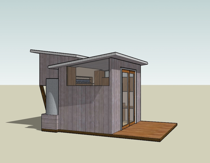 Tiny house design centered on a 6 foot sliding glass door for 6ft sliding patio doors
