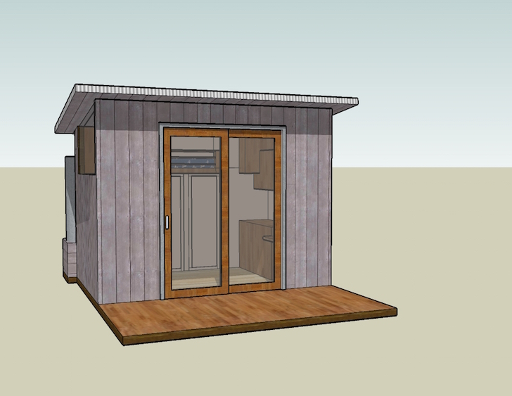 Tiny house design centered on a 6 foot sliding glass door for Six foot sliding glass door