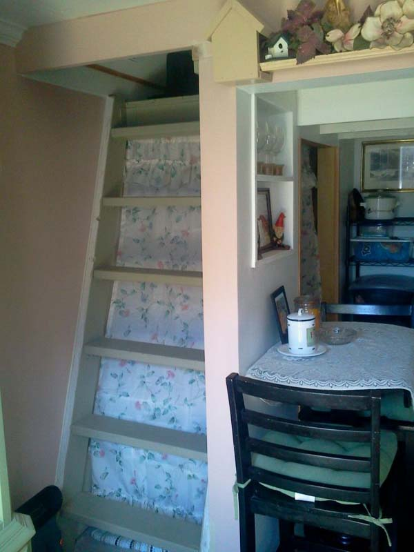 The ladder to head upstairs