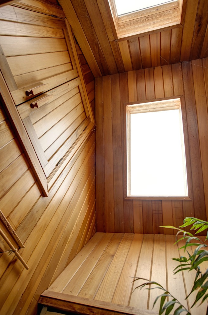 Wooden ceiling with skylights