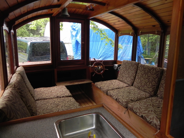 Houseboat seating area