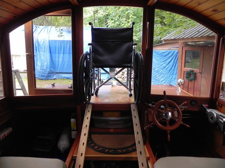 Wheelchair on houseboat