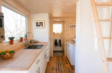 170 Square Foot Wood-Paneled Tiny House With Contrasting Wood Tones